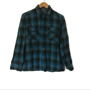 Pendleton Flap Pocket Blue Plaid Button-Up Shirt M